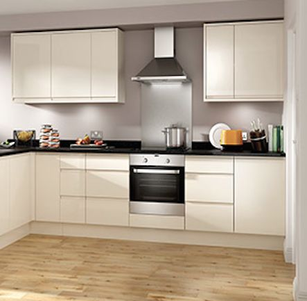 Wickes Stocked: Madison Cream High Gloss Handleless Kitchen Kitchen-compare.com - Home - Independent Kitchen Price Comparisons
