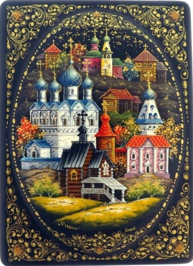 Russian lacquer miniature from the village of Kholuy. View of Suzdal Town in a beautiful frame.