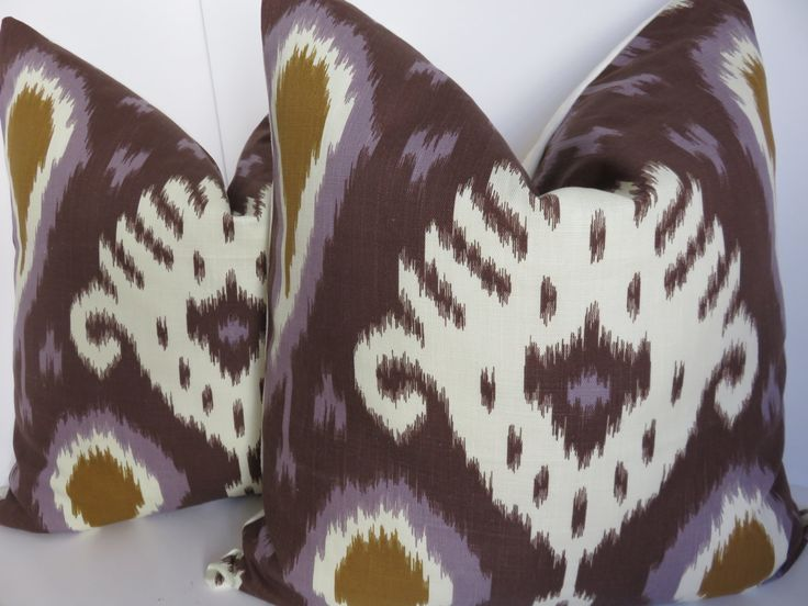 Ikat Pillow Cover - Purple ikat Pillow - Pillow cover -22x22-24x24 - Cream Purple Pillow - Purple Pillow by ClavelFashion on Etsy https://www.etsy.com/listing/268914938/ikat-pillow-cover-purple-ikat-pillow