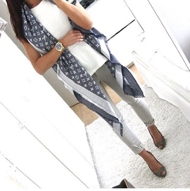 This outfit with the denim louis vuitton scarf!