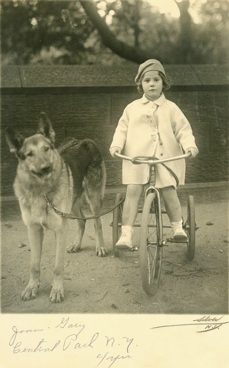 +~+~ Vintage Photograph ~+~+  Little girl riding her tricycle in Central Park, New York with her adorable German Shepherd.
