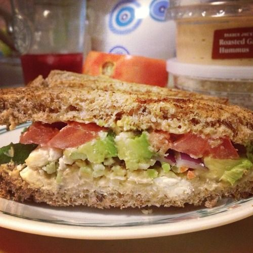 the sandwich queen. Sprouted whole grain bread, roasted garlic hummus ...