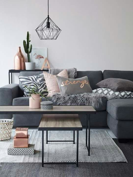 Modern Living Room In Grey With Copper And Pink Accents Geometric Diamond Pendant Lamp I Love These Colours