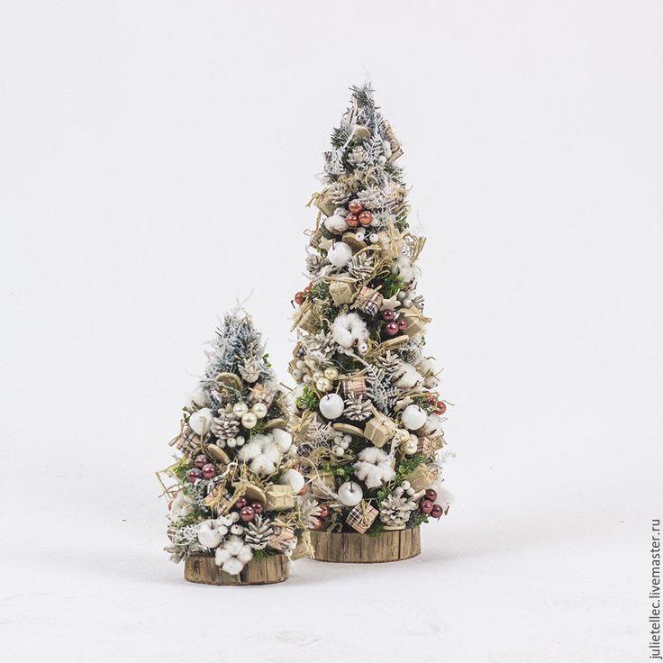 Купить Бежевая настольная елочка - бежевый, белый, настольная елка, подарок, Новый Год, рождество