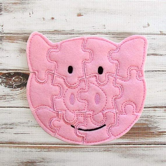 Kids Felt Puzzle - Pig Puzzle  - Toddler Shape Puzzle - Educational Toy - Farm - Animal Puzzles
