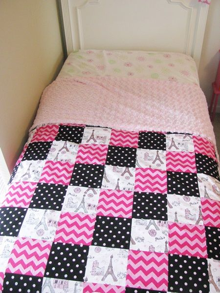 Paris Quilt with a fuzzy fleece backing for extra warmth - what an excellent idea!  I also love the color combo.