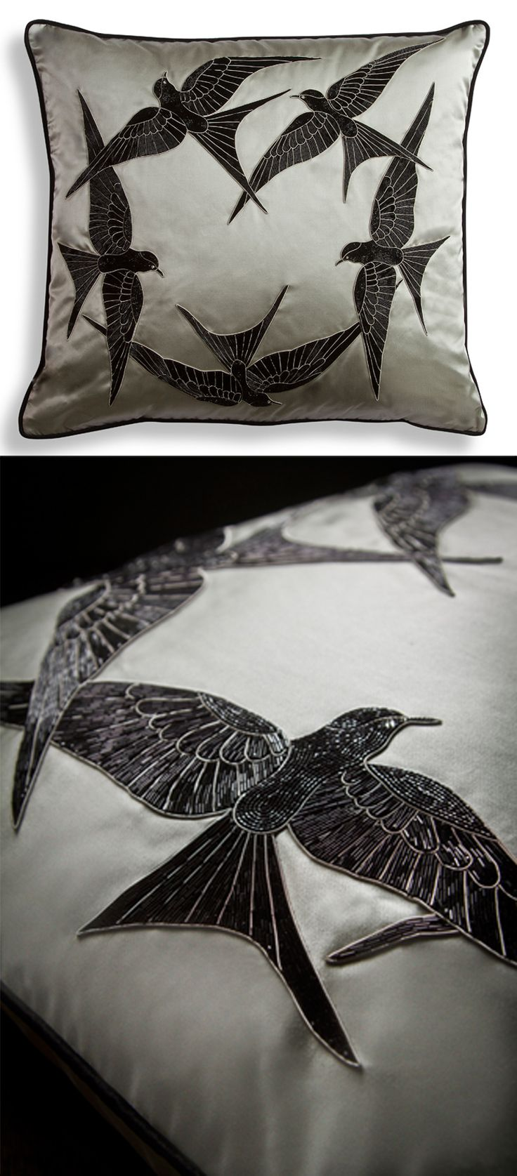 Elvira cushion. With extraordinarily intricate workmanship in bead-work, the design creates a beautiful circle of birds.