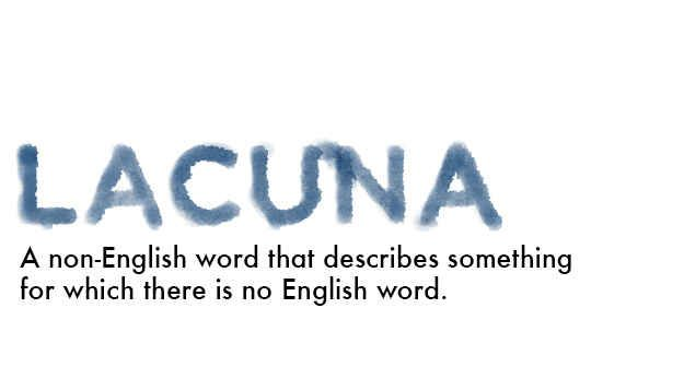 Lacuna (N) a non-english word that describes something for which there is no english word