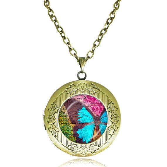 Ожерелье Бабочка медальон ожерелье Бабочки ювелирные изделия из стекла кабошон цитата кулон aqua животных ожерелье женщин подарки
