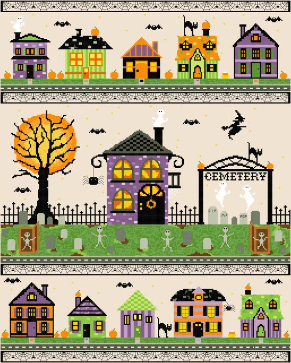 Ehi, ho trovato questa fantastica inserzione di Etsy su https://www.etsy.com/it/listing/197084746/halloween-village-cross-stitch-pattern