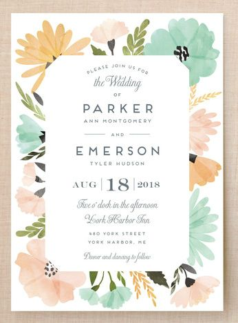 pretty floral watercolor wedding invitations with sage green and