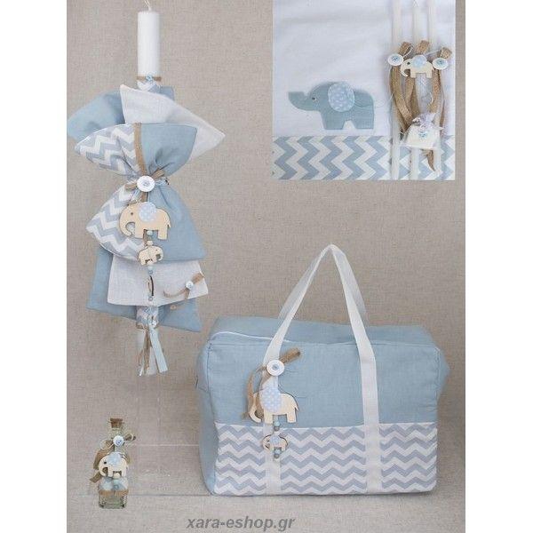 c9cb647612d3 Βάπτιση θέμα Ελεφαντάκια σετ ολοκληρωμένο σε λευκές σιέλ αποχρώσεις με  τσάντα