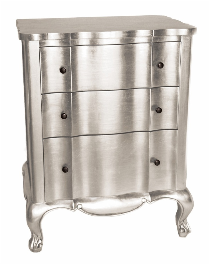 Biggins Chest  This chic chest of drawers made from mahogany wood with a silver leaf finish has 3 curved drawers and decorative feet and will add a touch of glamour to any room.