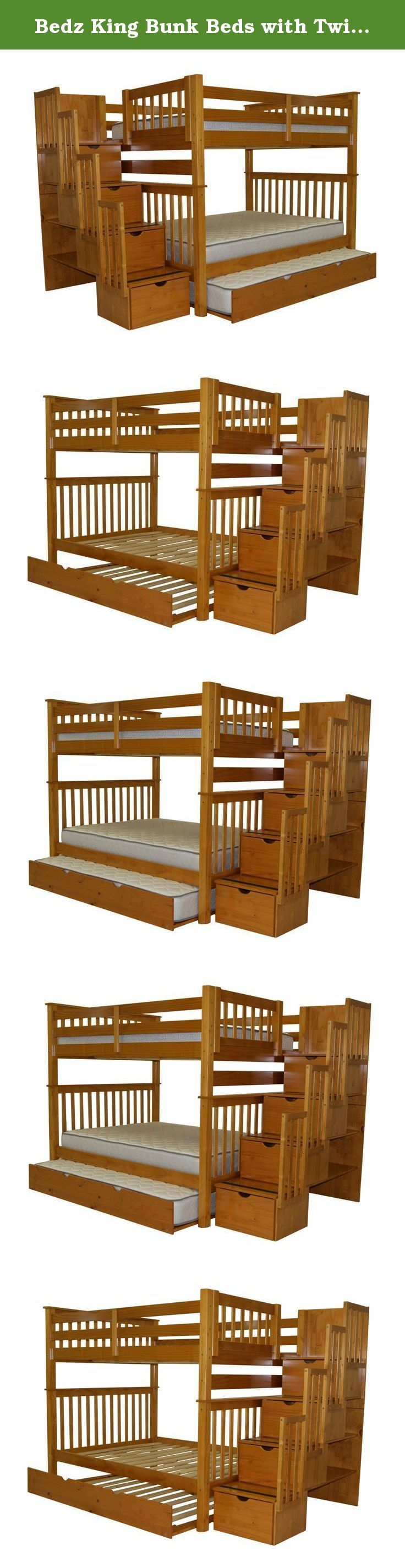 Bedz King Bunk Beds with Twin Trundle, Full over Full with Stairway, Honey. Bedz King Stairway Bunk Beds Full over Full in Honey with Twin Trundle   Bunk Bed converts to 2 Full Beds   The Top Bunk Foot Board will have the gap that is the entryway for the Stairway   Finish is child-safe   Solid Brazilian Pine - no particle board or mdf   No need for a bunkie board or a bunkie mattress as this bunk bed comes with a complete set of slats   Assembly required with included tools   SALE IS FOR...