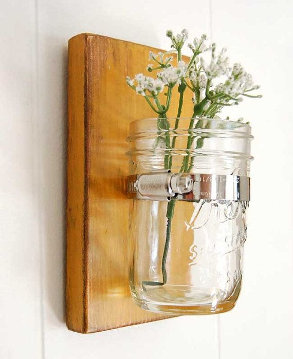 wall sconce wood vase glass vase primitive decor by OldNewAgain, USD 22.00 Basement decor Pinterest