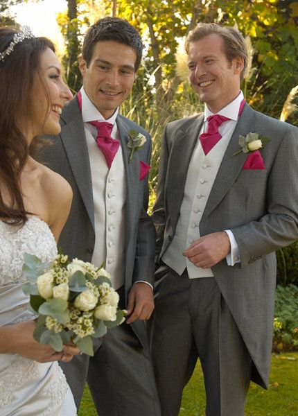 Brownish Grey Suits with cream colored vests, Red Ties & matching red pocket squares