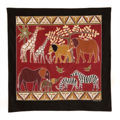 Wall Hangings ~ Various Safari Animal Designs $95.00 USD Extra Large Multi-purpose wall hanging depicting Zambia's rich wildlife heritage, against background of deep red. Hemmed all around with full-width pocket along top edge for hanging pole. Can also be used as a Tablecloth or throw.