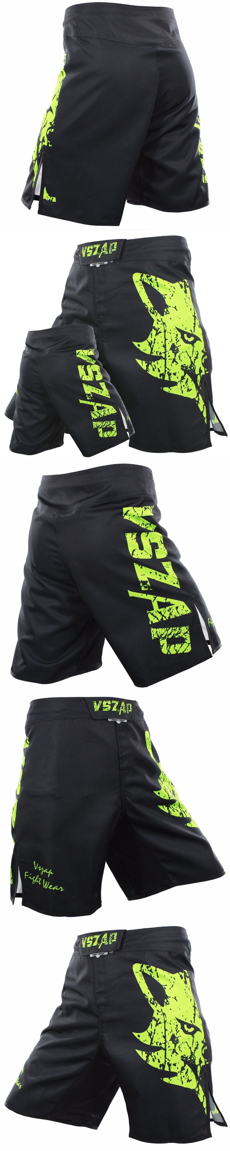 VSZAP Men's Muay Thai Boxing Shorts Printing MMA Shorts Fight Grappling Short Polyester Kick Gel Thai Boxing Shorts MMA Boxing