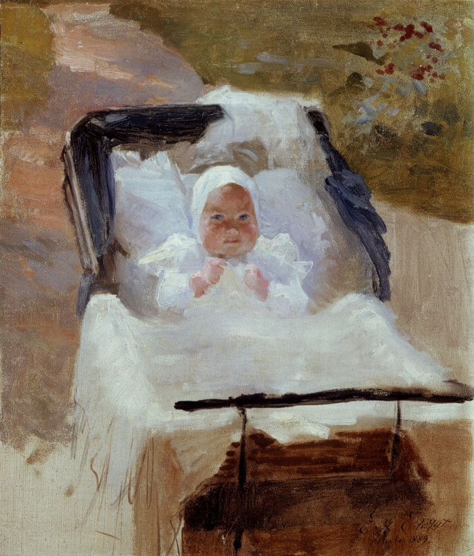 Albert Edelfelt  The Artist's Son Erik in his Pram  |  (Oil, artwork, reproduction, copy, painting).
