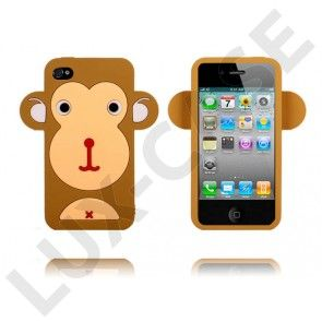 Happy Monkey (Lysebrun) iPhone 4/4S Cover