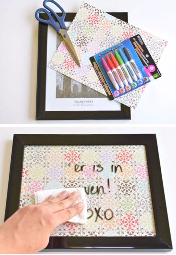 Cute idea for a dry erase board!