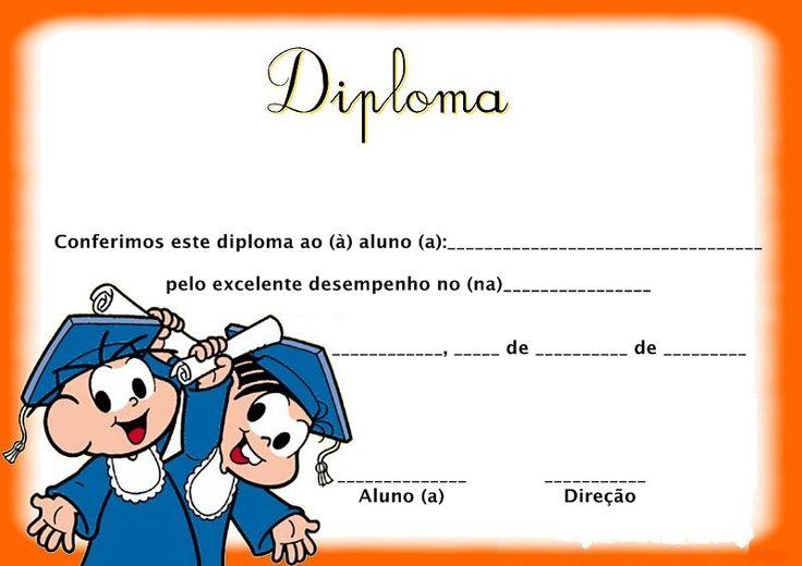 Modelos de diplomas para Formatura infantil e Formatura abc Clique aqui para ver mais...