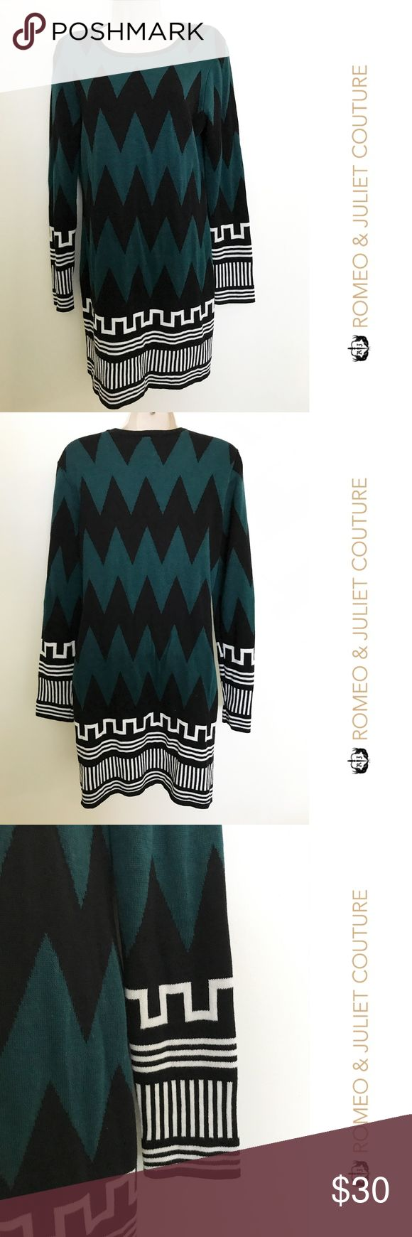 """Romeo + Juliet Couture chevron print dress - Large Very cute and in excellent condition. Great for Fall!  Measurements: Bust: 18.5"""" pit to pit Length: 33"""" Romeo & Juliet Couture Dresses Long Sleeve"""