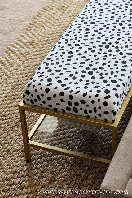 Gold Upholstered Bench with black and white dalmatian fabric from Tonic Living.com