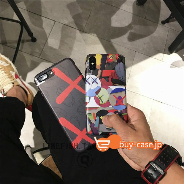 iphoneX/8/7 カバー通販kawsイラスト風カウズ アイフォン7plusケース個性的目がバッテンおしゃれファッションiphone6s(×)バツマーク落書き漫画8plusスフトx男女おそろい保護携帯7Plusジャケット