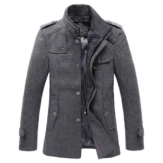 2016 Hommes Tranchée Manteau De Laine De Mode Long Mens Manteau D'hiver Tranchée manteau Hommes Gabardinas Par Hombre Taille M L XL XXL XXXL A3154