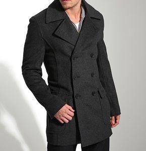 men's fashion charcoal grey pea coat.
