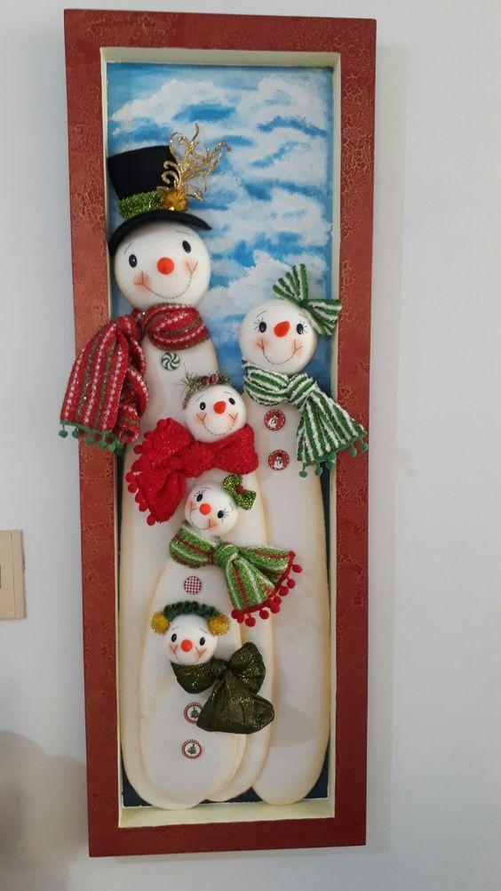Adornos de fieltro para navidad en marcos de madera | Moldes y ...