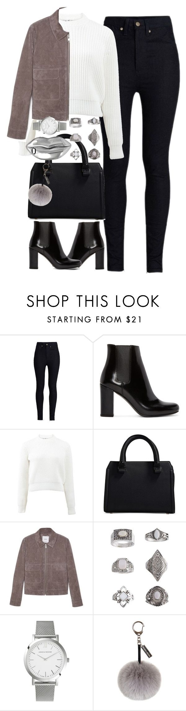 """""""Untitled #4042"""" by london-wanderlust ❤ liked on Polyvore featuring Rodarte, Yves Saint Laurent, T By Alexander Wang, Victoria Beckham, MANGO, Topshop, Larsson & Jennings, Helen Moore and STELLA McCARTNEY"""