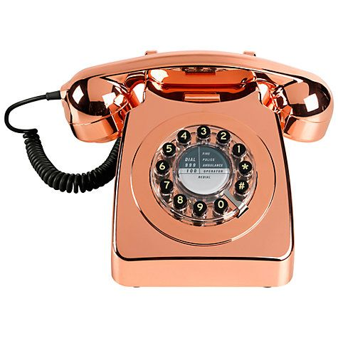 Buy Wild & Wolf 746 1960s Corded Telephone, Copper Online at johnlewis.com