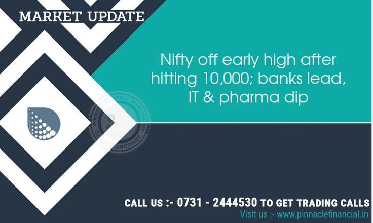 #Equity benchmarks came off early highs after the Nifty surpassed 10,000 level in opening. Banks and telecom stocks gained while technology, healthcare, oil and infra stocks were under pressure. The 30-share #BSE #Sensex was up 16.33 points at 32,262.20 and the 50-share #NSE #Nifty gained 6.20 points at 9,972.60 amid volatility. The market breadth was in favour of declines as about 1,078 shares declined against 991 advancing shares on the BSE.
