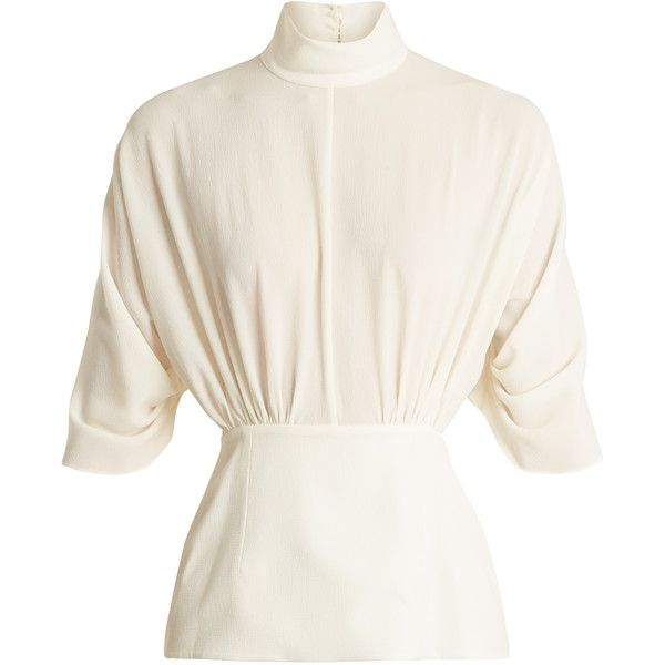 Emilia Wickstead Gee Gee high-neck crepe blouse (16 910 UAH) ❤ liked on Polyvore featuring tops, blouses, white, cocktail blouses, special occasion blouses, holiday tops, white crepe blouse and evening tops