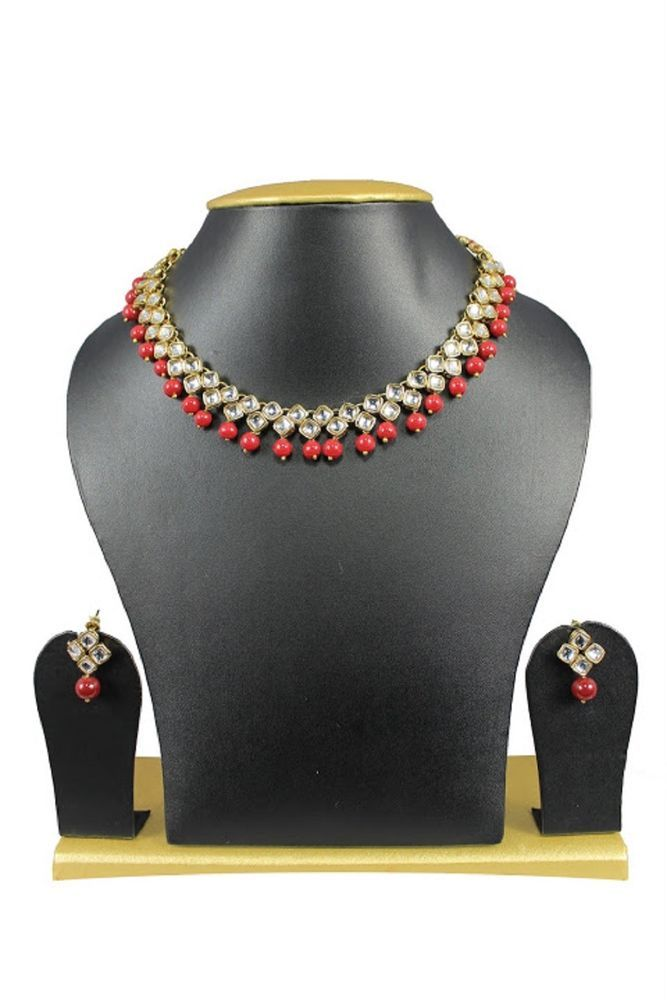 Stunning Red Pearls Ebay Indian Bollywood Gold Plated Wedding Wear Necklace Set #natural_gems15 #GoldPlated