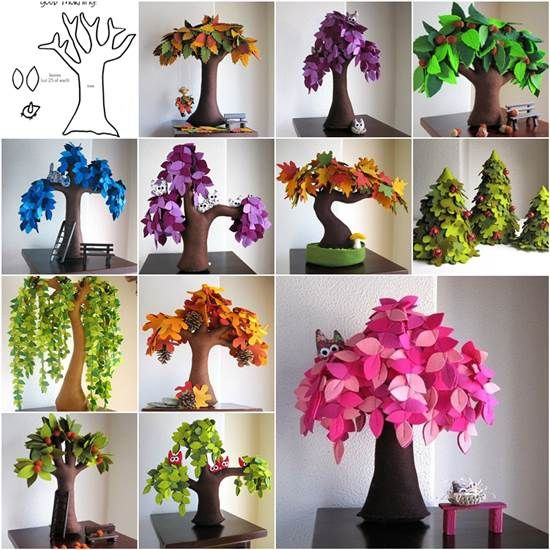DIY Creative Handmade Felt Trees from Template | iCreativeIdeas.com Like Us on Facebook ==> https://www.facebook.com/icreativeideas