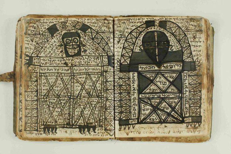 כתב יד של קבלה מעשית עם תיאורי מלאכים נייר מרוקו 1925