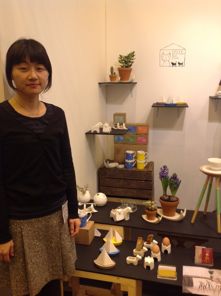 Takae Mizutani with her ceramics at Home 2013