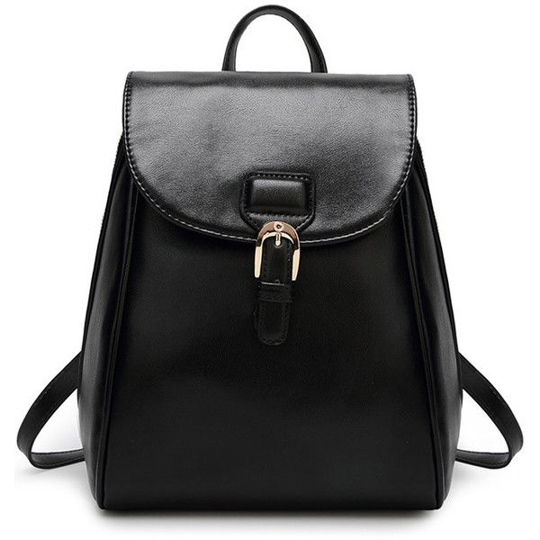 Black Pu Buckle Accent Stylish Backpack ($24) ❤ liked on Polyvore featuring bags, backpacks, black, buckle backpack, backpack bag, polyurethane bags, knapsack bags and black backpack