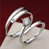 Venta al por mayor! Zircon Crystal pareja ajustable anillo de la joyería de moda 925 del anillo de bodas para mujeres y hombre