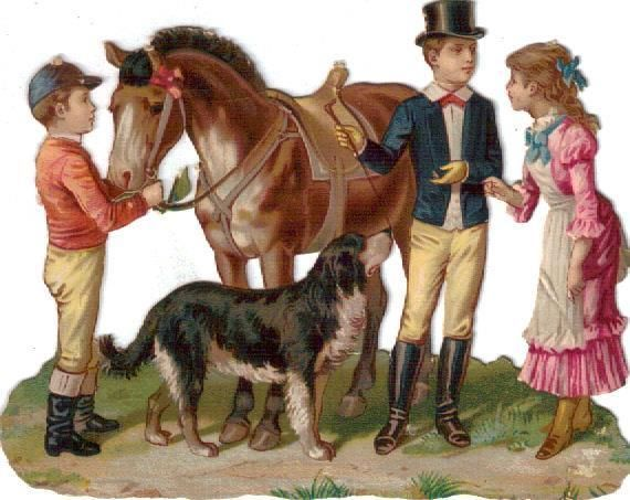 Victorian Die Cut Scrap 2 Young Jockeys show Horse to Girl c1880