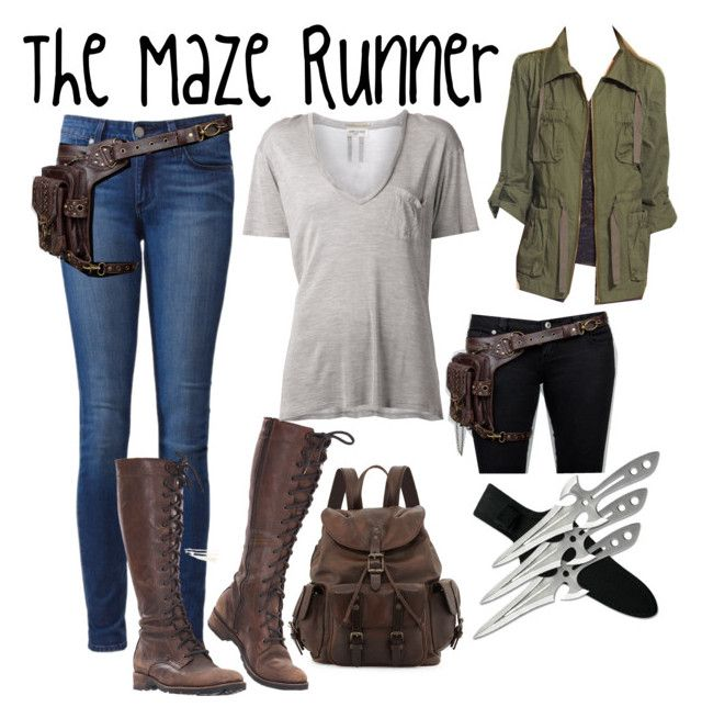 """The Maze Runner"" by always77 ❤ liked on Polyvore featuring Frye, Paige Denim, Yves Saint Laurent, Bar III, awesome and themazerunner"