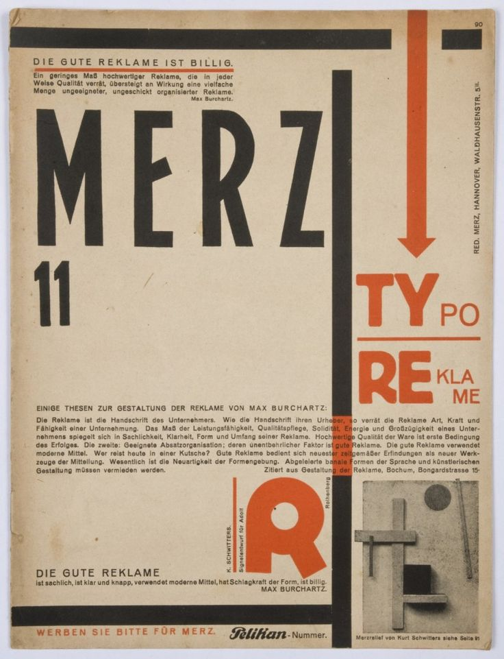 "Kurt Schwitters, Couverture de ""TYPOREKLAME PELIKANNUMER"", 1923"