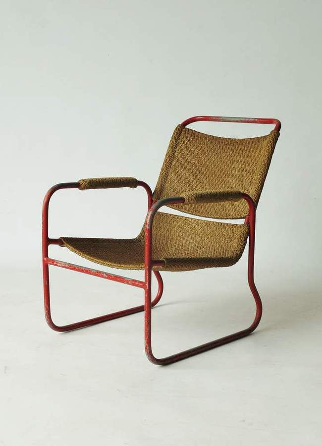 Bas Van Pelt; Enameled Tubular Metal and Sisal Armchair for EMS/My Home, 1920s.