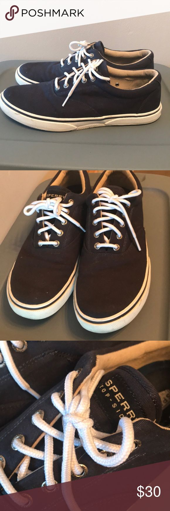 Sperry Navy Blue Shoes Sperry Top-Sider men's navy blue tennis shoes. Excellent condition, worn minimally Sperry Top-Sider Shoes Loafers & Slip-Ons