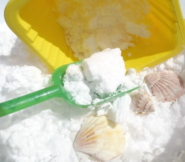 """Summer Snow - play recipes My boys loved this; they played for an hour in the Arizona sun (long after the """"snow"""" became shaving cream muck). Easy to clean up, and they smelled nice after."""