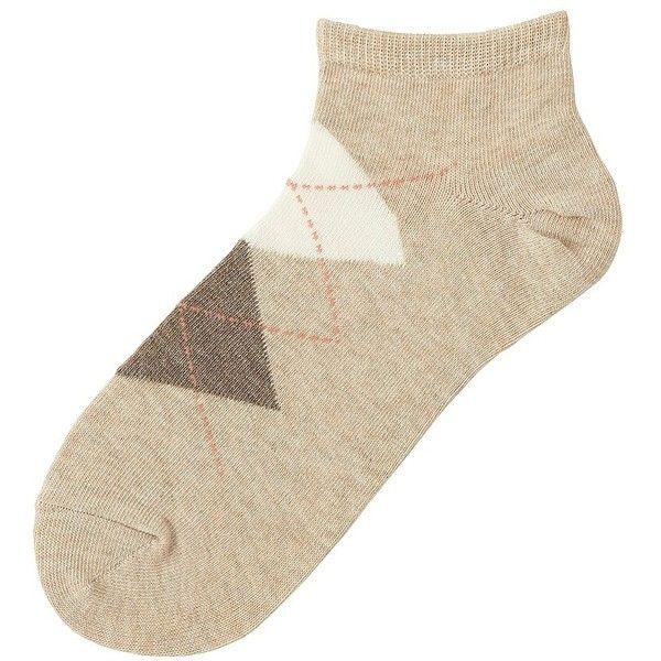 UNIQLO Short Socks (Argyle) ($4.67) ❤ liked on Polyvore featuring intimates, hosiery, socks, tennis socks, uniqlo, argyle socks, anklet socks and cotton ankle socks