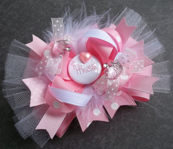 Pretty Princess Over The Top Boutique Hair Bow - Baby and Girls
